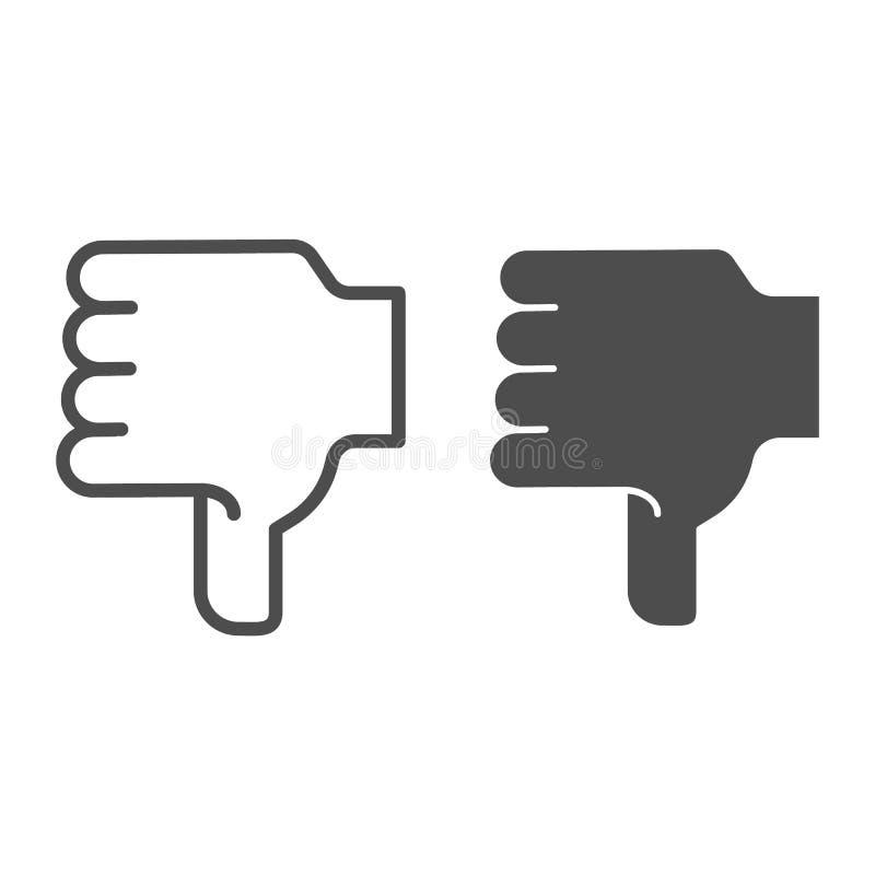 Línea de mano de la aversión e icono del glyph Pulgar abajo del ejemplo del vector aislado en blanco A diferencia de estilo del e ilustración del vector