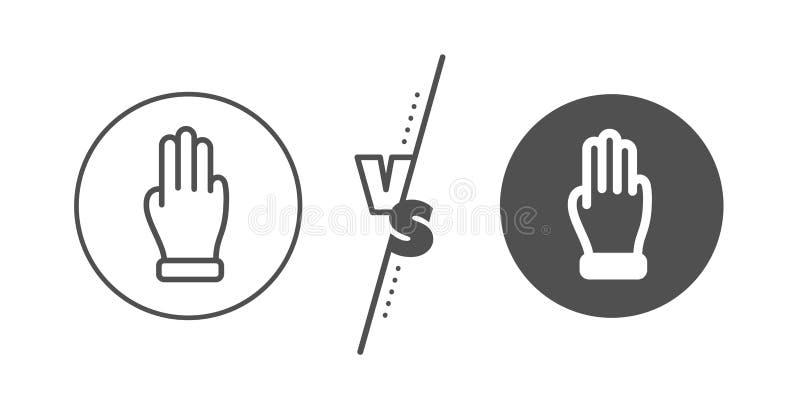 Línea de mano de tres fingeres icono Muestra de la palma del tecleo Vector stock de ilustración