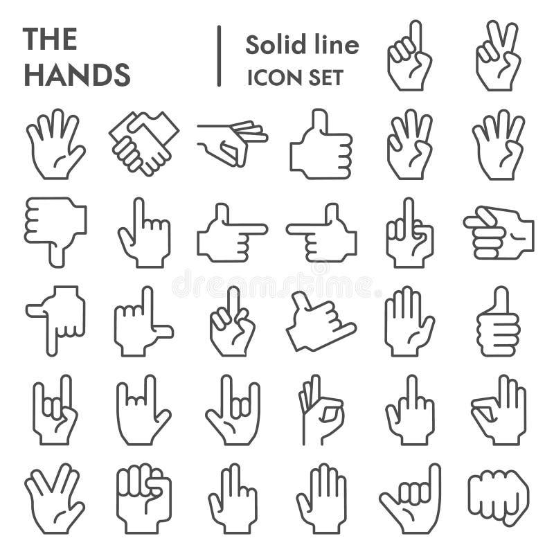 Línea de manos sistema del icono, símbolos colección, bosquejos del vector, ejemplos del logotipo, pictogramas lineares del gesto ilustración del vector