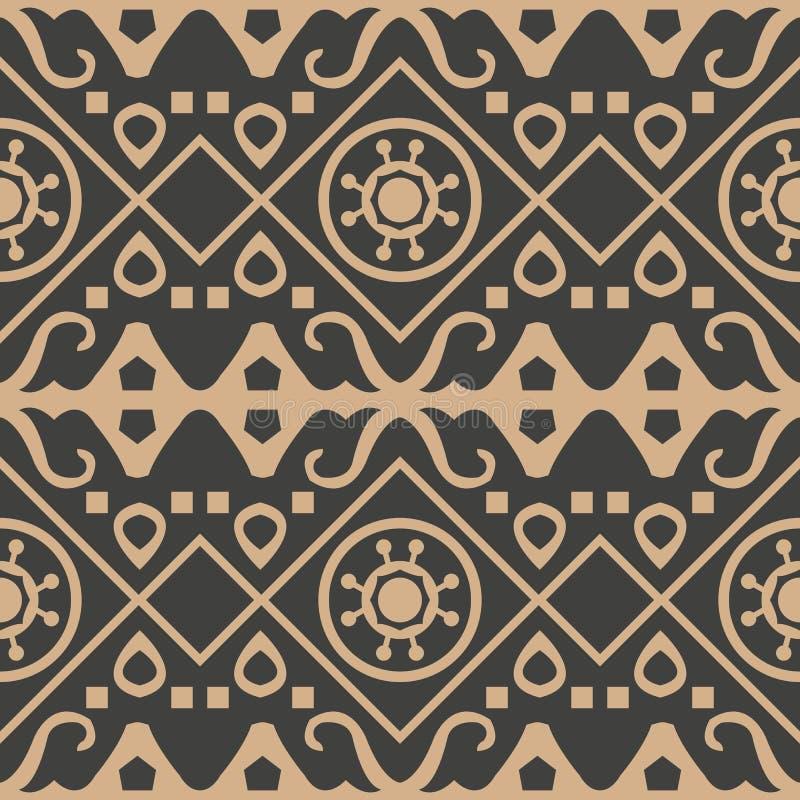 Línea de marco cruzada del modelo del damasco del vector del control redondo aborigen retro inconsútil del fondo Diseño marrón de ilustración del vector