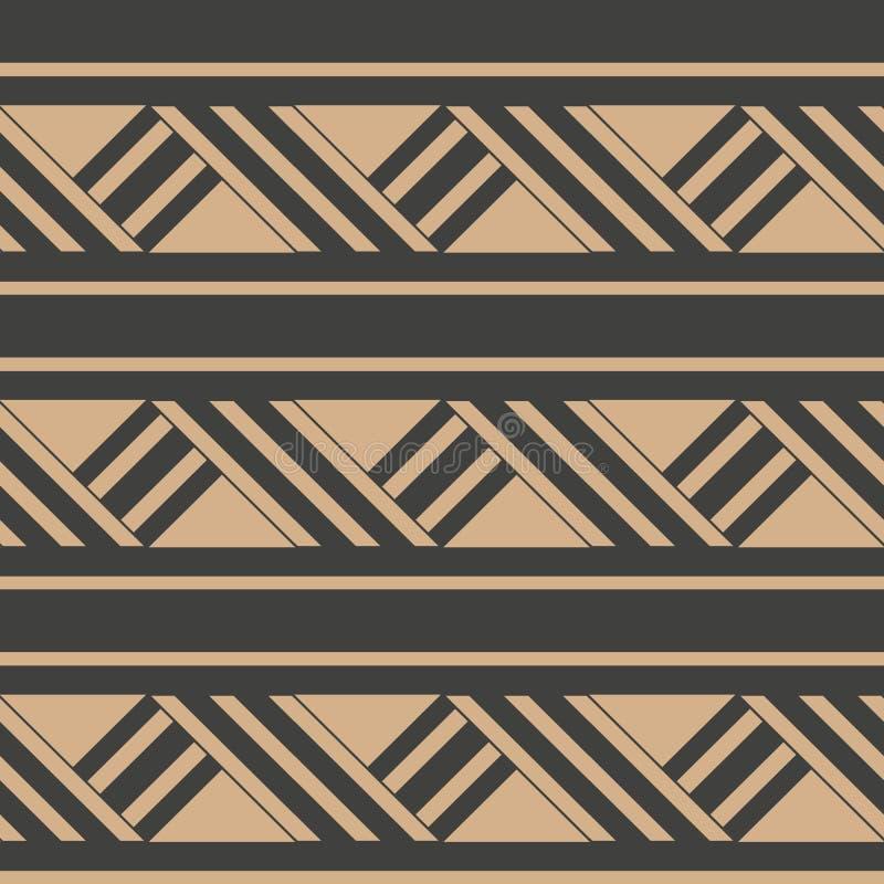 Línea de marco cruzada de la geometría del modelo del damasco del vector del triángulo retro inconsútil del fondo Diseño marrón d libre illustration