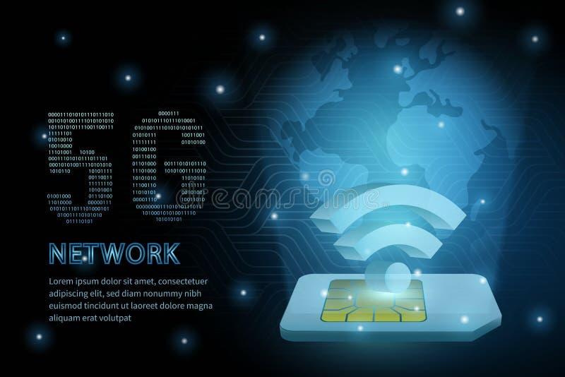 línea de marco global de la cruz de la geometría de la tierra de la tarjeta del sim de la tecnología del wifi 5G fondo futurista  ilustración del vector
