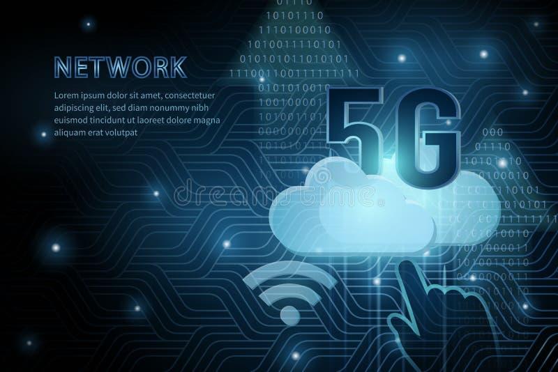 línea de marco de la cruz de la geometría de la nube del wifi de la tecnología 5G fondo futurista de la plantilla del ejemplo del libre illustration