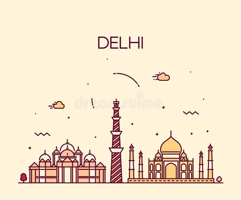 Línea de moda arte del ejemplo del horizonte de la ciudad de Delhi stock de ilustración