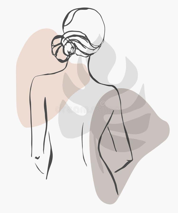 Línea de moda exhausta mujer de la mano simple de la silueta Arte moderno del minimalismo, contorno est?tico La silueta de las mu ilustración del vector