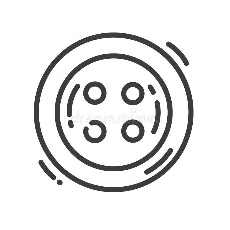Línea de moda icono sobre los juguetes de costura - botón de costura del estilo ilustración del vector