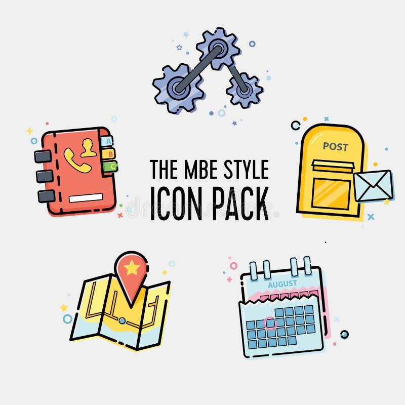 Línea de moda paquete plano del icono para el web y el móvil foto de archivo