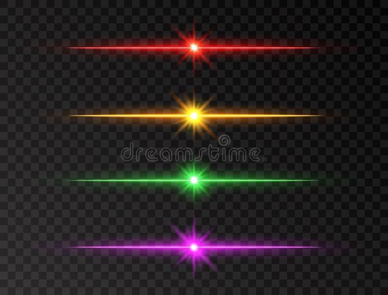 Línea de neón sistema Haces del brillo del color Línea que brilla intensamente sistema en fondo transparente Sistema realista de  stock de ilustración