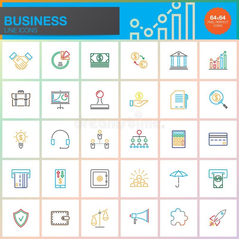 Línea de negocio iconos fijados, colección del símbolo del vector del esquema, paquete colorido linear del pictograma aislado en  ilustración del vector