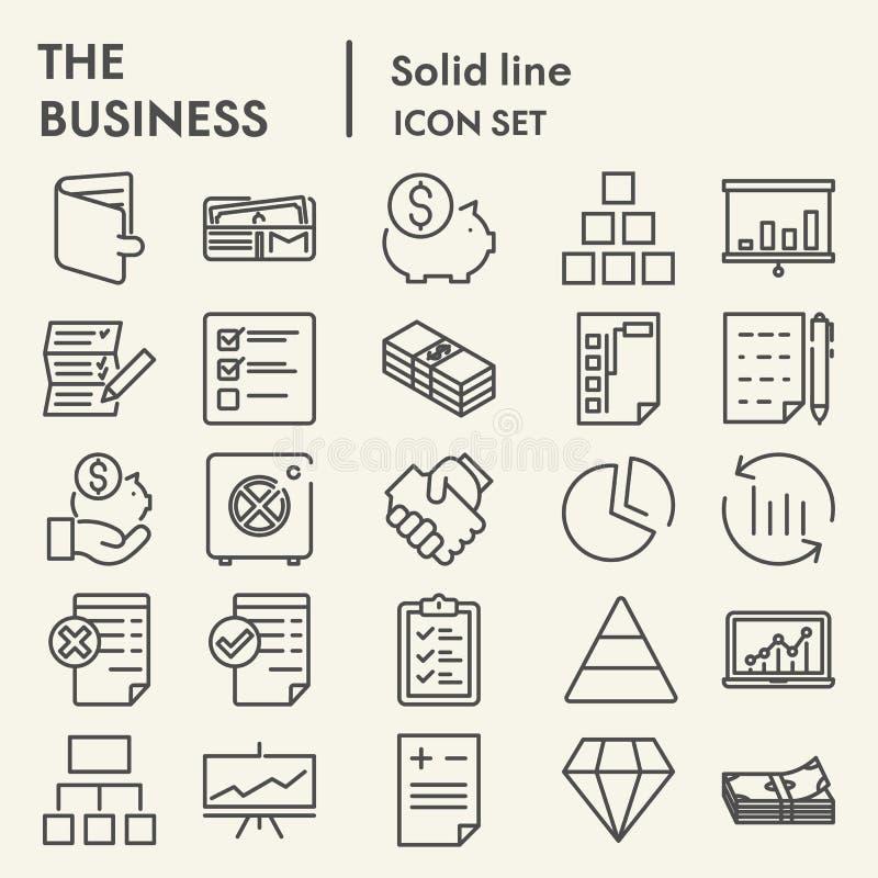 Línea de negocio sistema del icono, símbolos colección, bosquejos del vector, ejemplos del logotipo, muestras de la gestión de la stock de ilustración