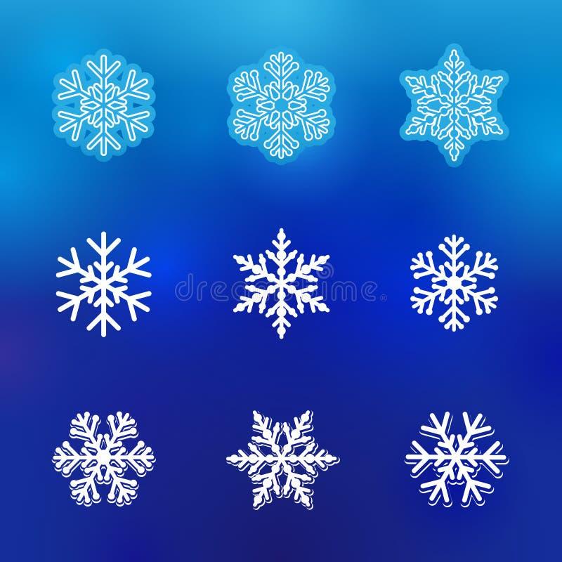 Línea de nieve del invierno iconos stock de ilustración