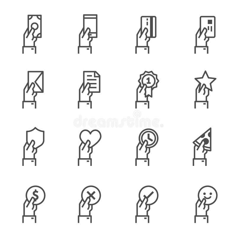 Línea de ofrecimiento sistema de la mano del icono Incluyó los iconos como dan efectivo, tarjeta de crédito, móvil, documento, so ilustración del vector