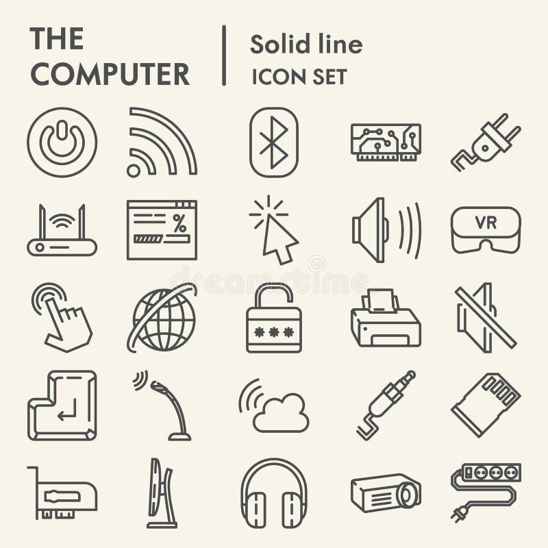 Línea de ordenador sistema del icono, símbolos digitales colección, bosquejos del vector, ejemplos del logotipo, pictogramas line ilustración del vector