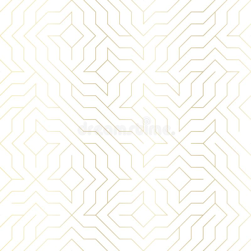 Línea de oro geométrica modelo del vector inconsútil Fondo abstracto con textura del oro en blanco Impresión gráfica minimalistic stock de ilustración