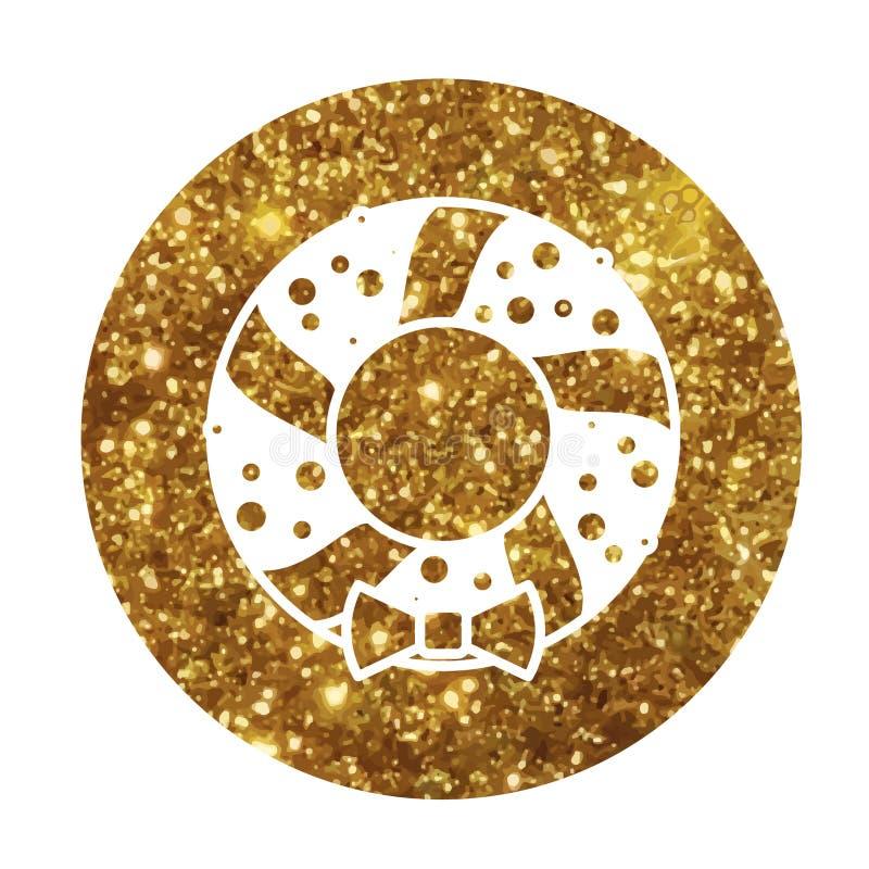 Línea de oro icono de la decoración de la guirnalda de la puerta de la Navidad del brillo libre illustration