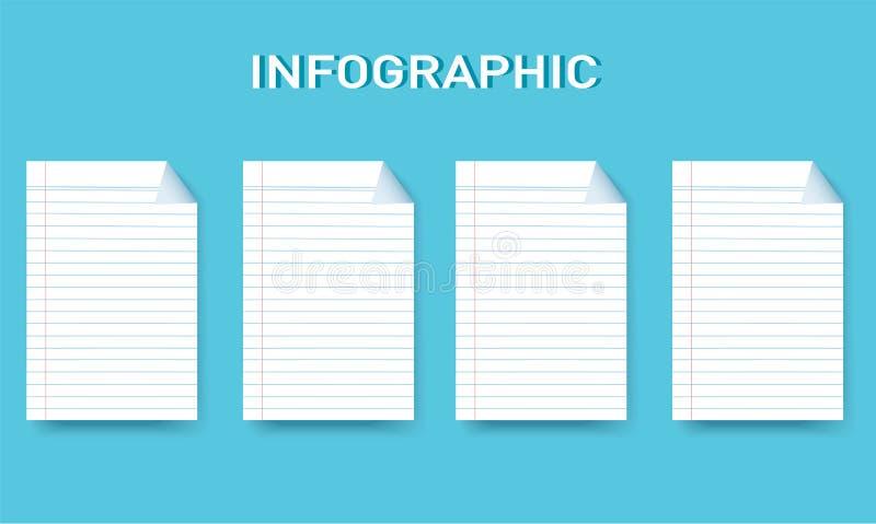 Línea de papel plantilla gráfica del vector de la información cuadrada con 4 opciones ilustración del vector