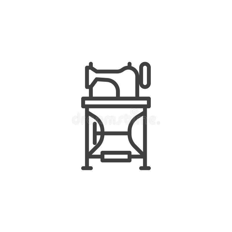 Línea de pedales icono de la máquina de coser stock de ilustración