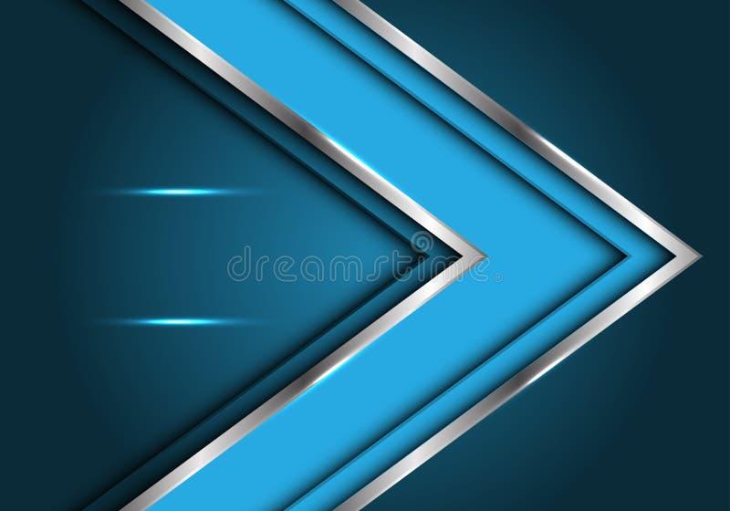 Línea de plata azul dirección del extracto de la flecha con vector de lujo futurista moderno del fondo del diseño de la luz del e stock de ilustración