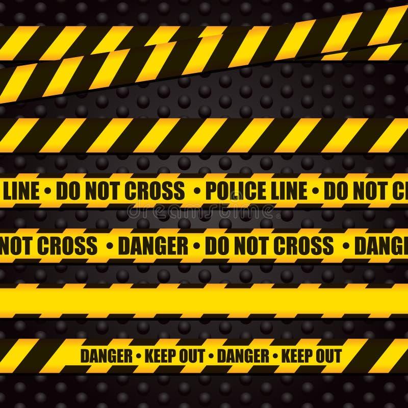 Línea de policía cinta amonestadora ilustración del vector