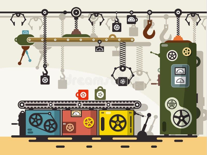 Línea de producción Vector plano del diseño stock de ilustración