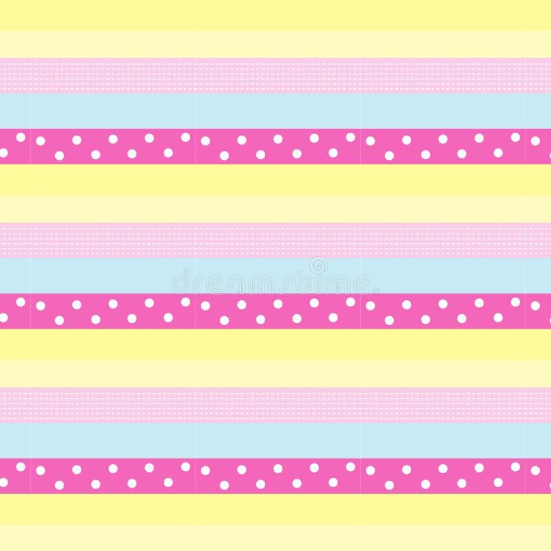 Línea de puntos del blanco y lunar blanco en s colorido en colores pastel dulce ilustración del vector