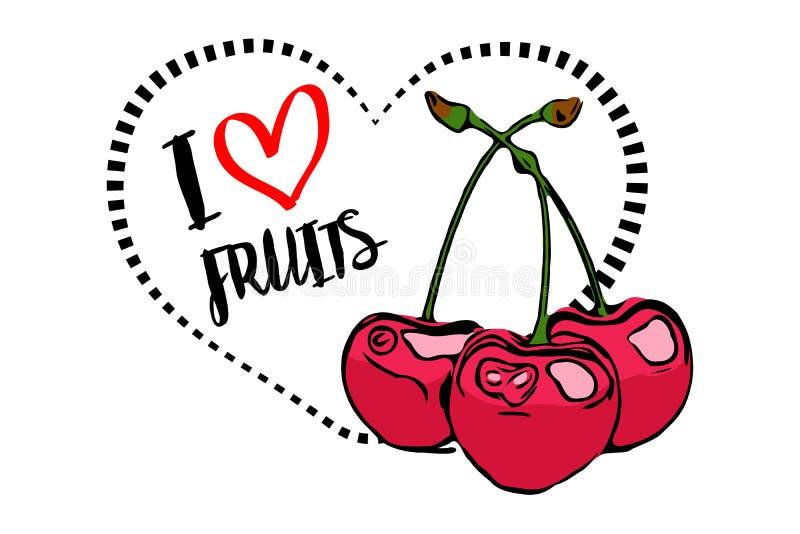 Línea de puntos forma del corazón del negro con la historieta dibujada tres cerezas rojas en primero plano ilustración del vector