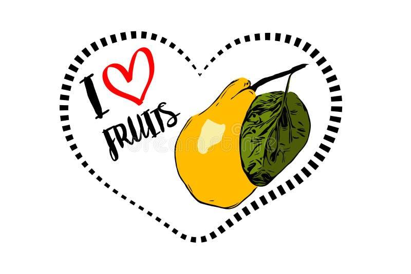 Línea de puntos forma del corazón del negro con la pera amarilla exhausta de la historieta con la hoja verde dentro del corazón ilustración del vector