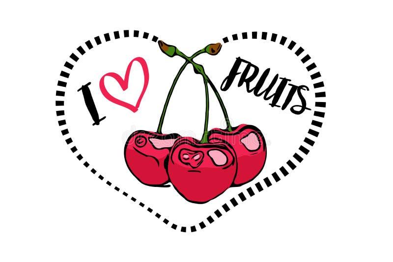 Línea de puntos forma e historieta del corazón del negro dibujadas tres cerezas rojas dentro del corazón libre illustration