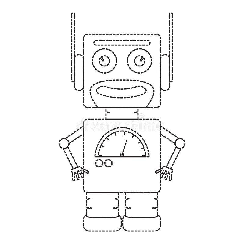Línea de puntos icono lindo del juguete del robot libre illustration