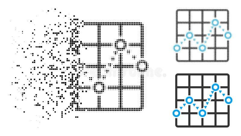 Línea de puntos punteada quebrada icono del tono medio del diagrama de la rejilla stock de ilustración