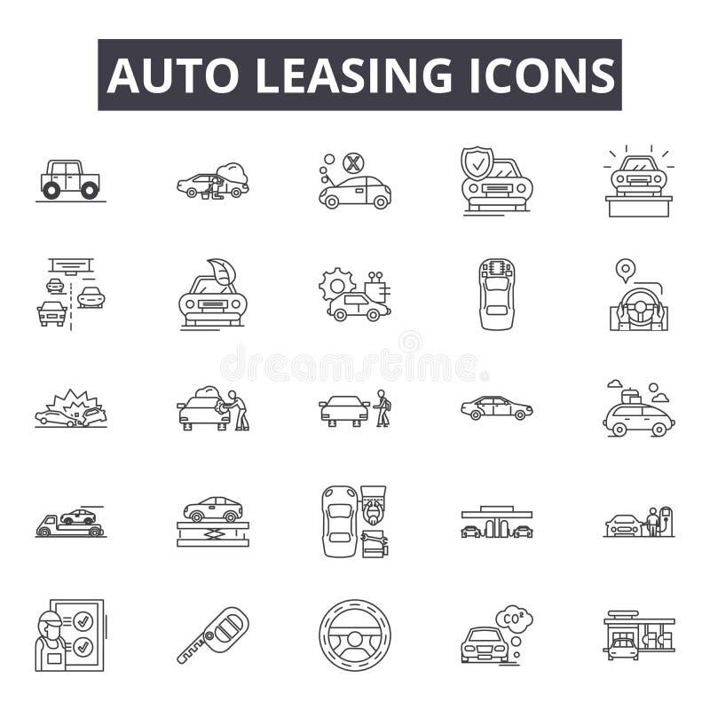 Línea de renta auto iconos, muestras, sistema del vector, concepto del ejemplo del esquema libre illustration