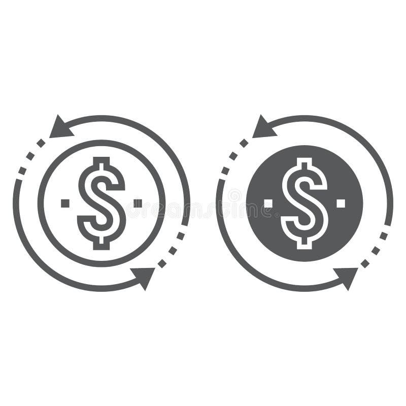 Línea de rentabilidad de la inversión e icono del glyph stock de ilustración
