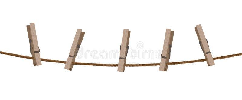 Línea de ropa con las clavijas stock de ilustración
