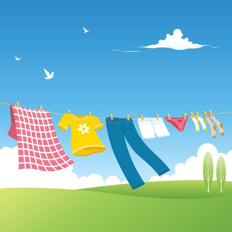 Línea de ropa - jardín stock de ilustración
