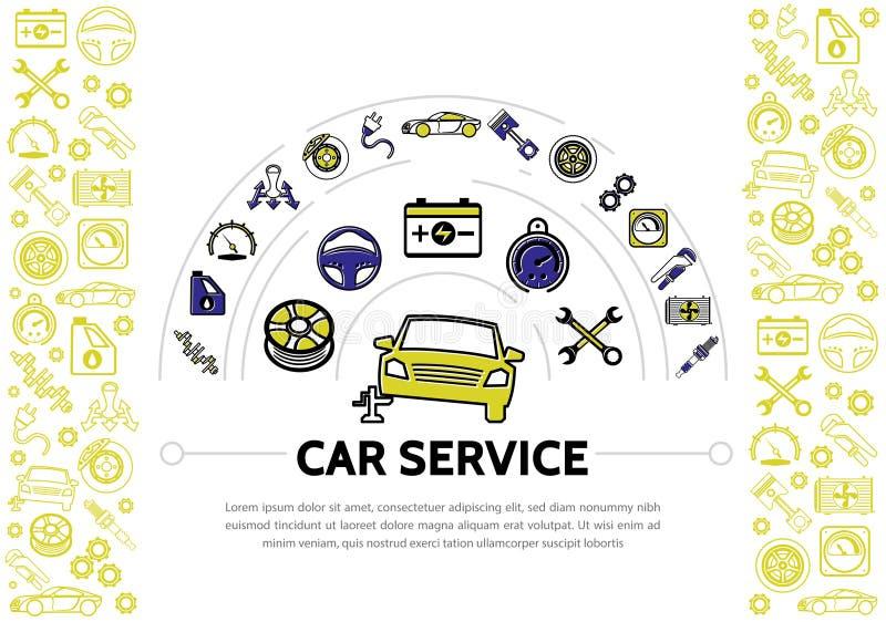 Línea de servicio del coche composición de los iconos libre illustration