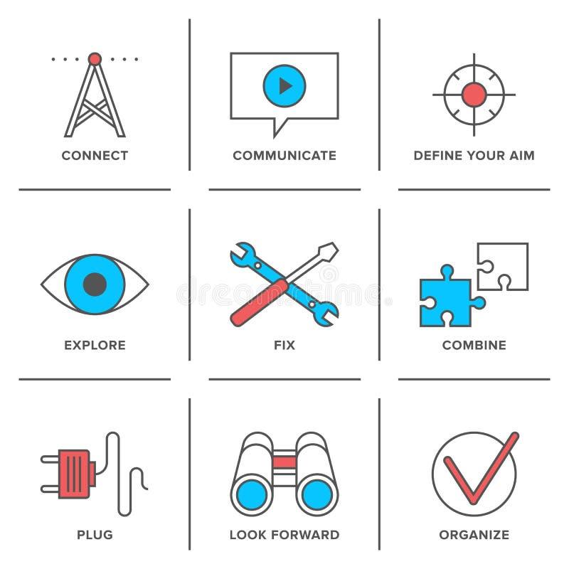 Línea de servicio técnico iconos fijados libre illustration
