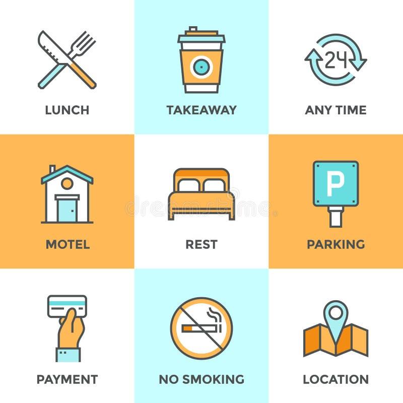 Línea de servicios del motel iconos fijados libre illustration