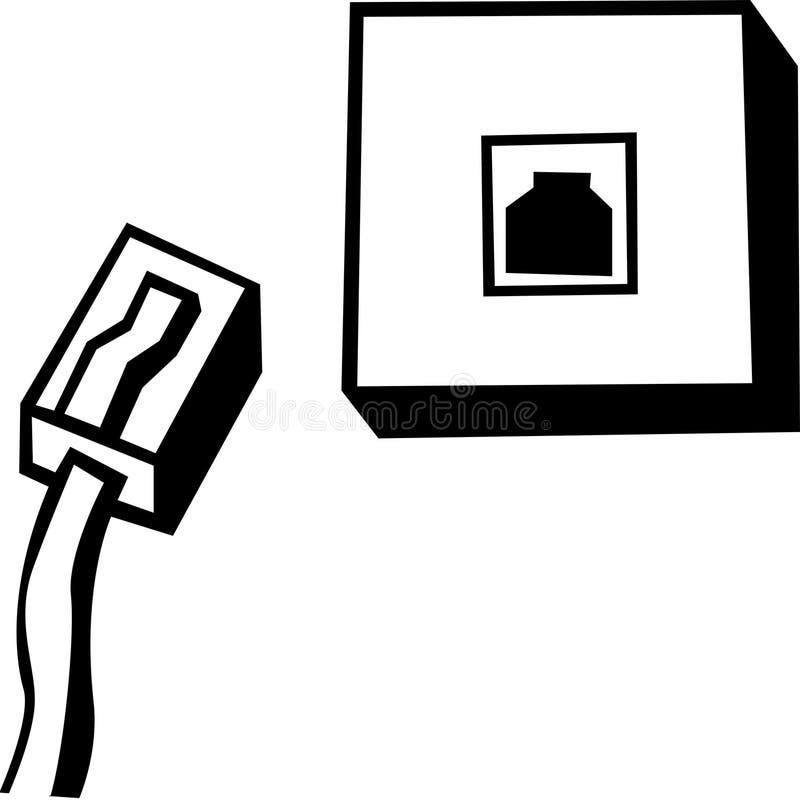 Línea de teléfono gato y cable ilustración del vector