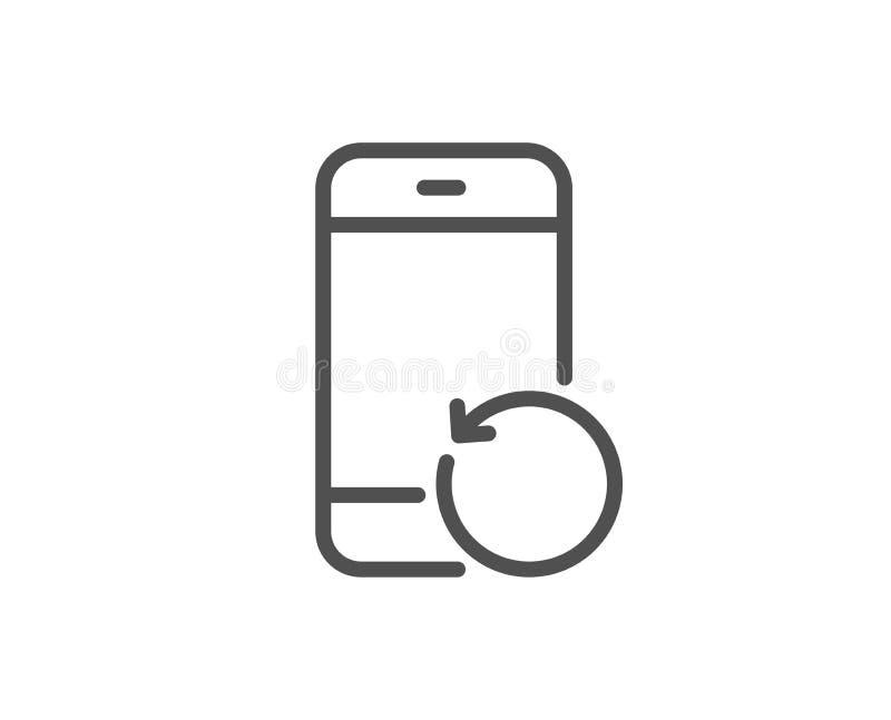 Línea de teléfono de la recuperación icono Muestra de reserva de los datos Información del smartphone de la restauración Vector stock de ilustración