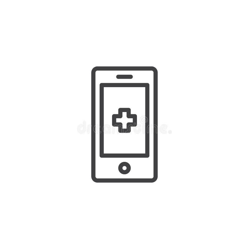 Línea de teléfono médica icono stock de ilustración