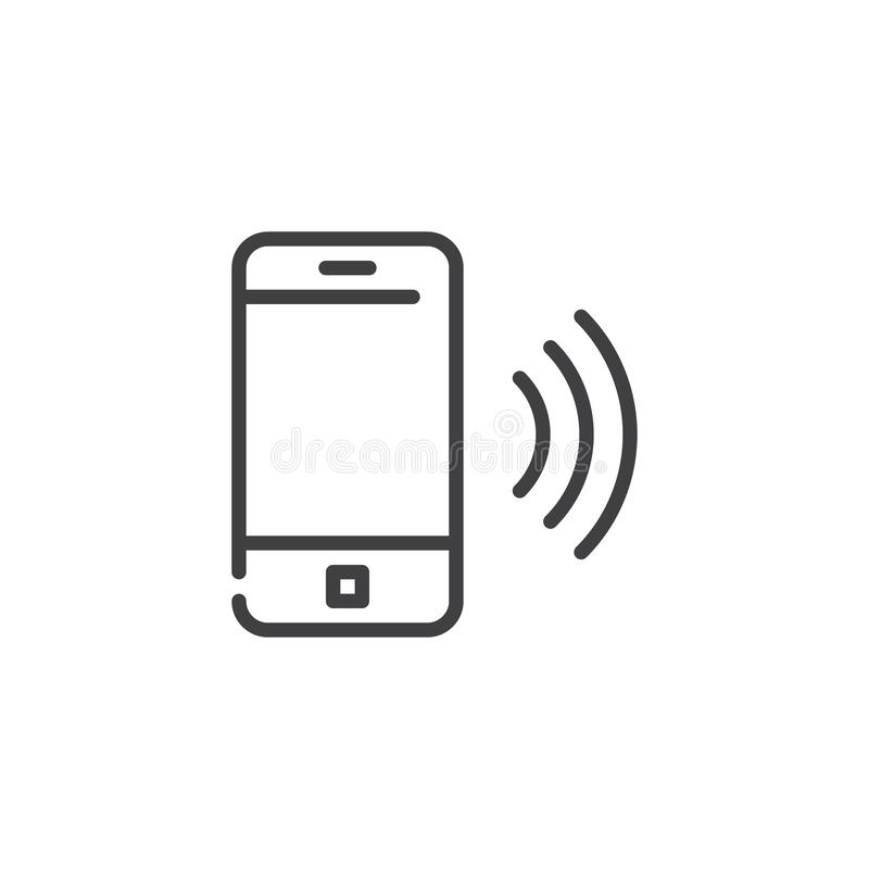 Línea de teléfono móvil de sonido icono stock de ilustración