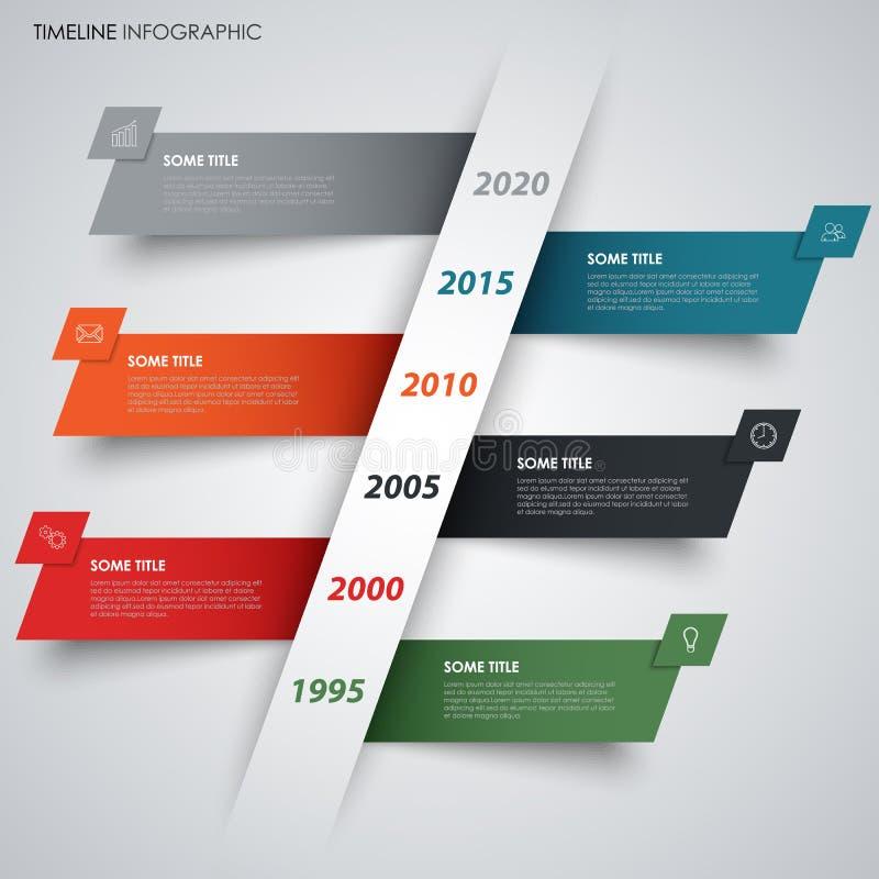 Línea de tiempo abstracta gráfico de la información con las rayas coloreadas que se inclinan ilustración del vector