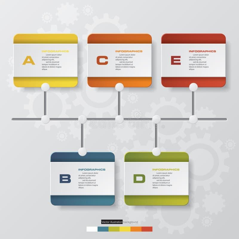Línea de tiempo descripción cronología de 5 pasos infographic con el fondo de la forma del engranaje stock de ilustración
