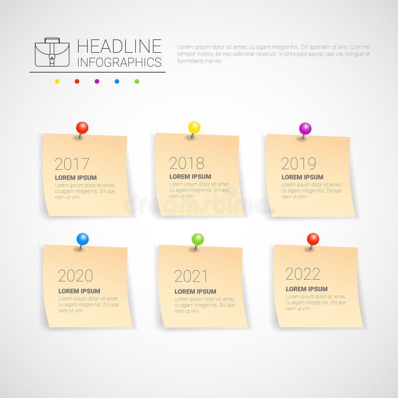 Línea de tiempo determinada de la colección del negocio de Infographic del título de la etiqueta engomada espacio de la copia del libre illustration