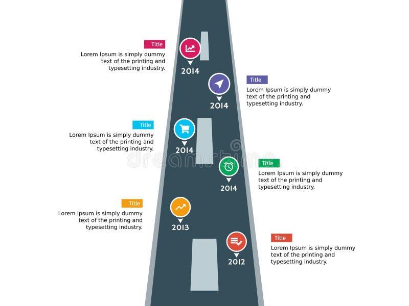 Línea de tiempo de Infographic camino y plantilla del jalón libre illustration