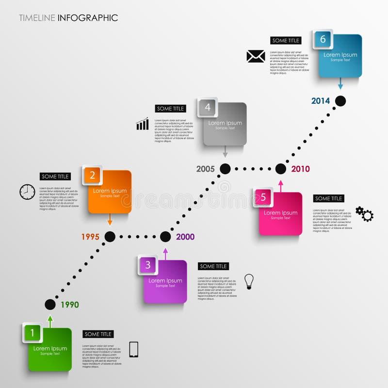 Línea de tiempo plantilla cuadrada coloreada gráfico de la información ilustración del vector
