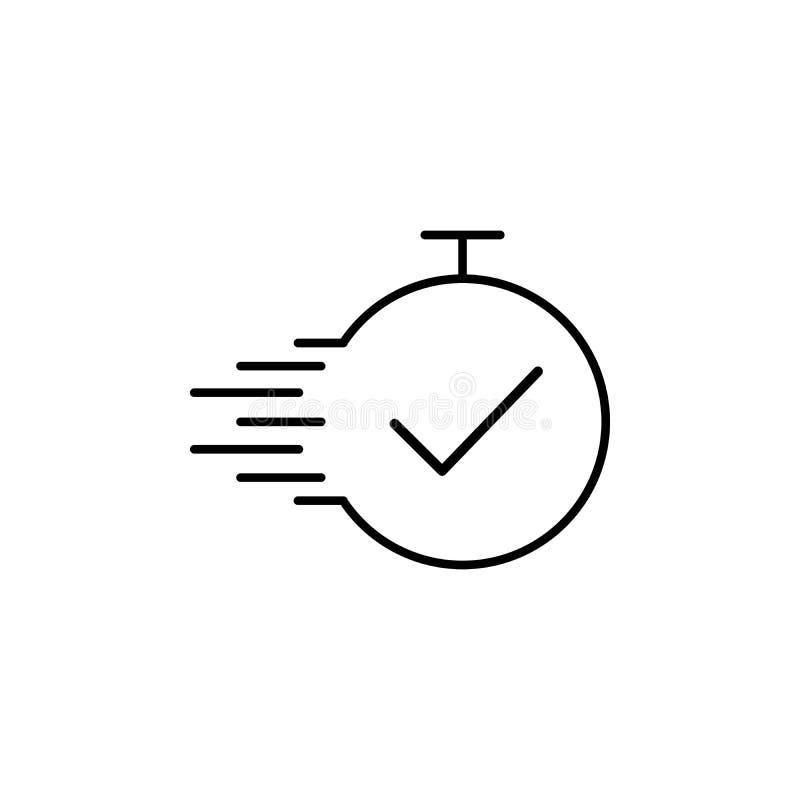 Línea de tiempo de tarea icono del vector Plazo, el mejor tiempo, realización Concepto rápido del tiempo Ejemplo del vector para  stock de ilustración