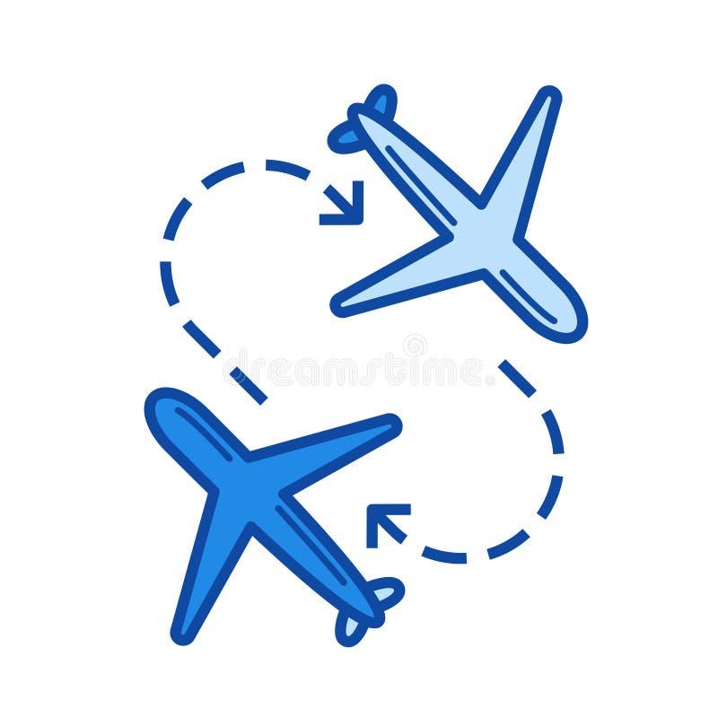Línea de transferencia de aeropuerto icono stock de ilustración