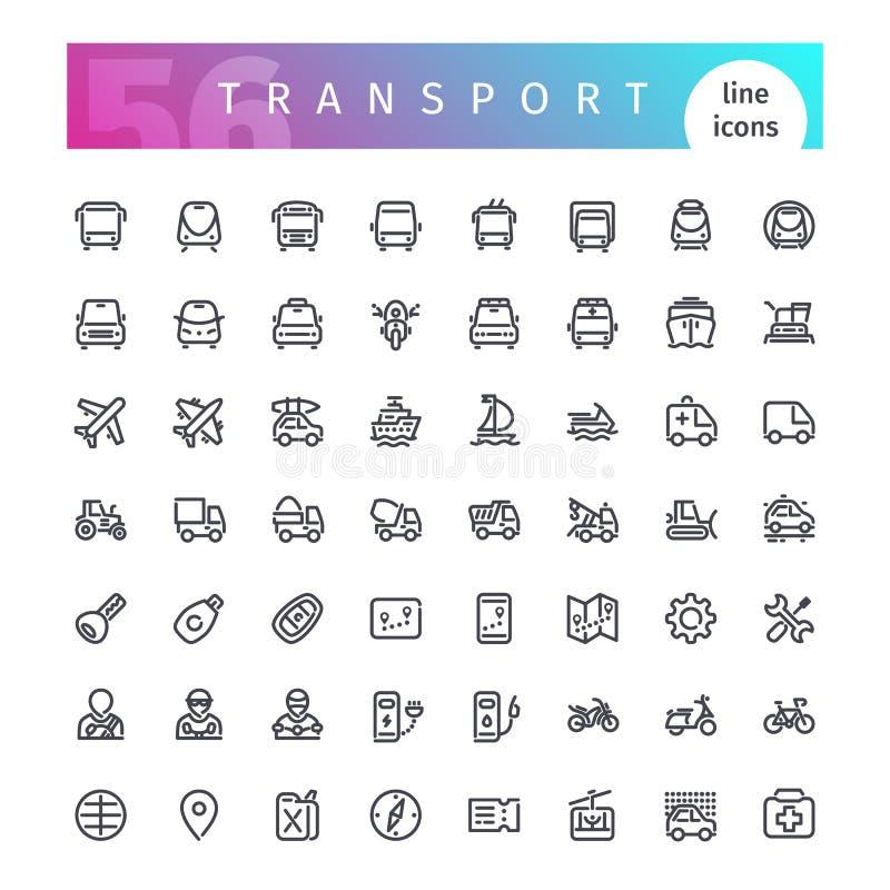 Línea de transporte iconos fijados ilustración del vector