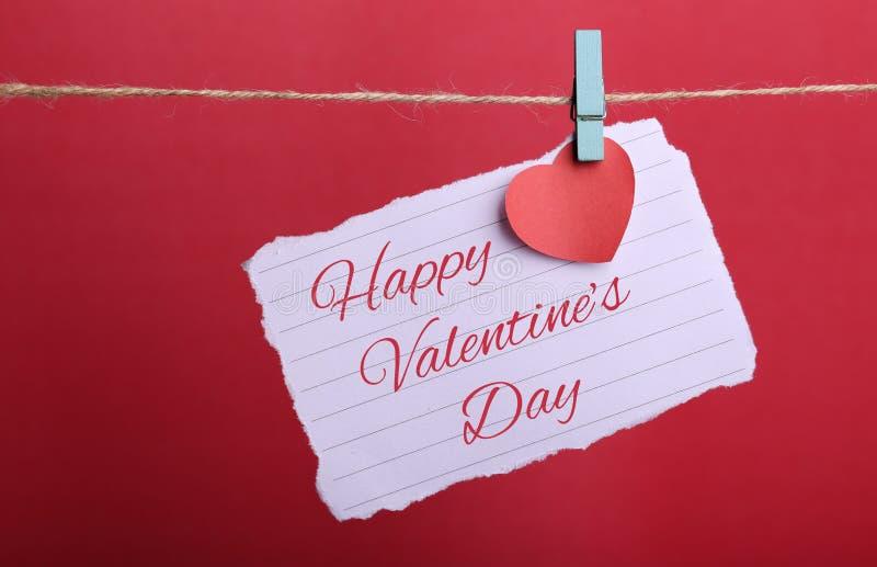 Línea de Valentine Note Paper Hanging On fotografía de archivo libre de regalías